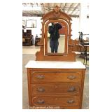 ANTIQUE Walnut Victorian Dresser with Mirror