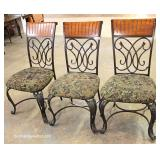 """7 Piece Contemporary Oak and Iron Breakfast Table Set (Table 48"""" Diameter)"""