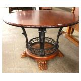 "7 Piece Contemporary Oak and Iron Breakfast Table Set (Table 48"" Diameter)"