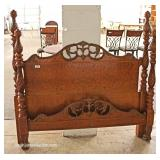 ANTIQUE Burl Walnut Carved Full Size Poster Bed with Rails  Located Inside – Auction Estimate $100-