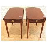 """BEAUTIFUL PAIR of SOLID Mahogany and Inlaid One Drawer Drop Side Pembroke Tables by """"Councill Furnit"""
