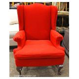 "Mahogany Frame Wing Back Arm Chair by ""Ethan Allen Furniture"" Located Inside – Auction Estimate $100"