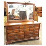 "SOLID Cherry Low Dresser with Mirror by ""Thomasville Furniture"""