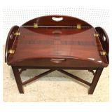 "Burl Mahogany Butterfly Drop Butlers Table by ""Councill Furniture"""