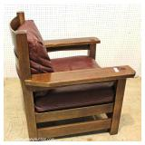"""Mission Oak Arm Chair with Leather Cushions and Matching Footstool (to be sold separate) By """"Stickle"""