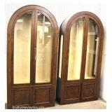 PAIR of Mid-Century Dome Top 2 Door Burl Walnut Display Cases Made in Italy