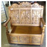 Heavily Carved Lift Top Antique Style Bench