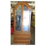 SOLID Mahogany Banded Gentlemen Chest with Mirror Front and Fitted Interior