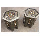 PAIR of Octagon Middle Eastern Inspired Lamp Tables