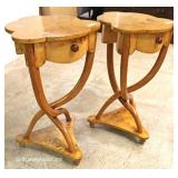 PAIR of Burl Walnut One Drawer Lamp Tables