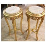 PAIR of Marble Top Carved Gold Painted French Style Stands