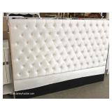 NEW White Upholstered Button Tufted Queen Size Headboard with Chrome Trim