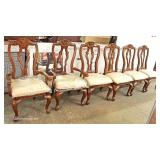 ELABORATE 8 Piece Contemporary Burl Walnut and Banded Dining Room Set with Mirrored Lighted China