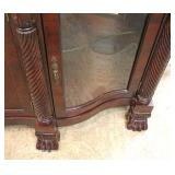 Burl Mahogany Paw Foot Buffet Curio in the manner of Maitland Smith