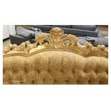 FANTASTIC PAIR of Italian Rococo Button Tufted Arched Sofa's