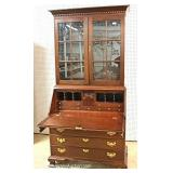 Custom SOLID Mahogany 2 Piece Secretary Bookcase