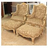 FANTASTIC PAIR of French Style Fireside Chairs and Ottomans