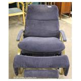 Modern Design Brass Frame Recliner possibly Mastercraft