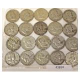 20 Silver U.S. Franklin Half Dollars