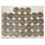 31 U.S. Silver Standing Liberty Quarters