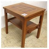 "Mission Oak Tile Top 2 Tier Side Table by ""Stickley Furniture"""