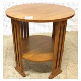 "Mission Oak Round Side Table by ""Stickley Furniture"""