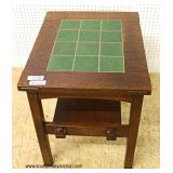 "Mission Oak Green Tile Top 2 Tier Side Table by ""Stickley Furniture"""
