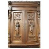 PAIR of ANTIQUE Highly Carved and Ornate Continental 3 Piece Hunt Cupboards with Full Figure Carving