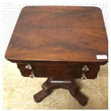 "ANTIQUE Burl Mahogany Empire 2 Drawer Work Table by ""Schultz & Drury Bros. Utica NY"""
