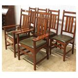 AWESOME BEAUTIFUL 10 Piece Mission Oak Dining Room Set with  2 Matching Corner Cabinets with Arts a