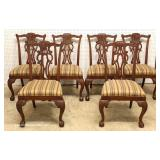 7 Piece Mahogany Banded and Inlaid Dining Room Table with 2 Leaves and 6 Carved Ball and Claw Dinin