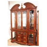 "Contemporary Mahogany Shell Carved 2 Piece Broken Arch China Cabinet with Curio Base by ""Kathy Irela"