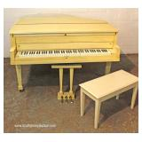 "Mid Century Baby Grand Piano with Bench in original factory paint by ""Stieff"""