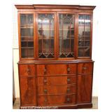 Burl Mahogany 2 Piece 4 Door China Cabinet with Desk
