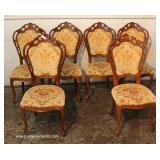 9 Piece Italian Style Burl Mahogany Lacquer Inlaid and Banded Dining Room Set – table has 2 leaves
