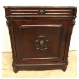 ANTIQUE Walnut Marble Top 1 Drawer 1 Door Side Cabinet with Carved Griffins