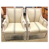 PAIR of New Contemporary White Wash Fireside Chairs