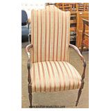 SOLID Mahogany Frame Scroll Arm High Back Chair