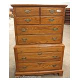 "SOLID Oak High Chest with Jewelry Box Drawer and Low Chest by ""Durham Furniture"""