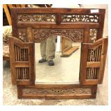 SOLID Mahogany Highly Carved Decorator Mirror with Doors