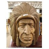 Over-sized Hand Carved SOLID Wood Indian Chief Bust