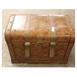 Contemporary Leather Wrap Strapped Decorator Trunk