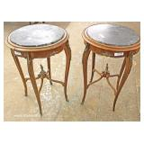 PAIR of ANTIQUE French Style Marble Top Lamp Tables with Applied Bronze