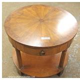 "Burl Walnut Sunburst Top One Drawer Lamp Table by ""Baker Furniture"""