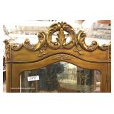 Italian Mirrored Back Carved Crystal Cabinet