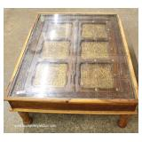 ANTIQUE Asian Half Door Custom Made into Glass Top Coffee Table