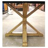Reclaim Wood Style Round Kitchen Table with Cross Buck Country Style Legs