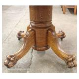 "ANTIQUE Quartersawn Oak 48"" Paw Foot Table with 3 Leaves"