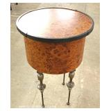 Contemporary Iron Leg Round Burl Walnut Lamp Table