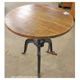 Industrial Style Oak Top Crank Table